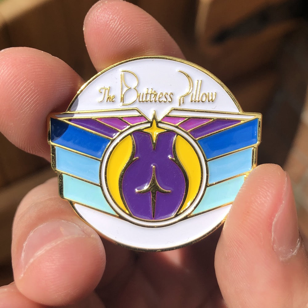 The Buttress Pillow Official Enamel Pin Size