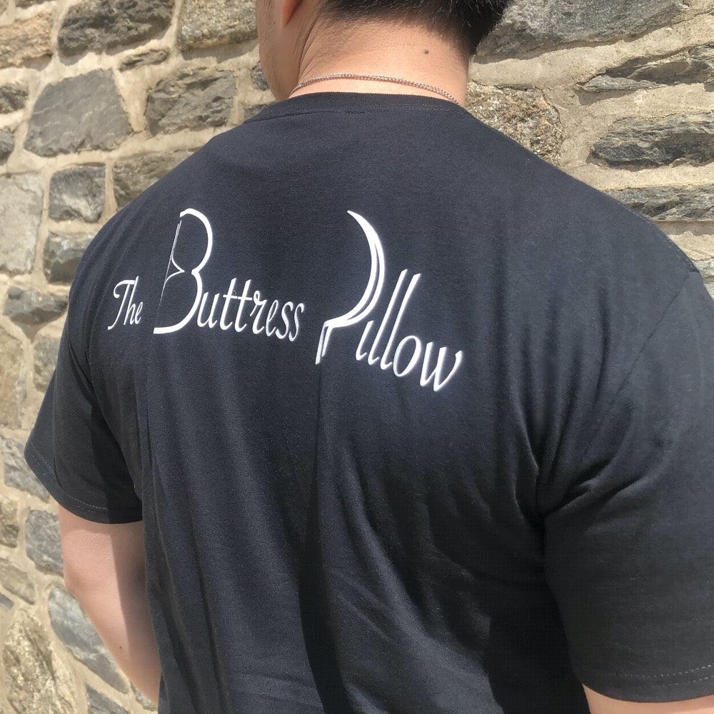 The Buttress Pillow Official T-Shirt Tee Back with model