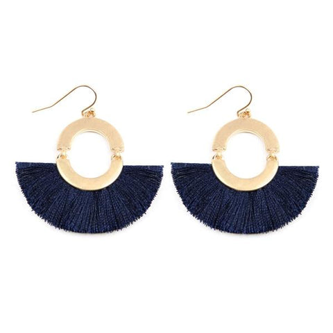 Fan Shaped Tassel Linked Hoop Drop Earrings