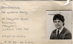 Graeme Armstrong old personnel card