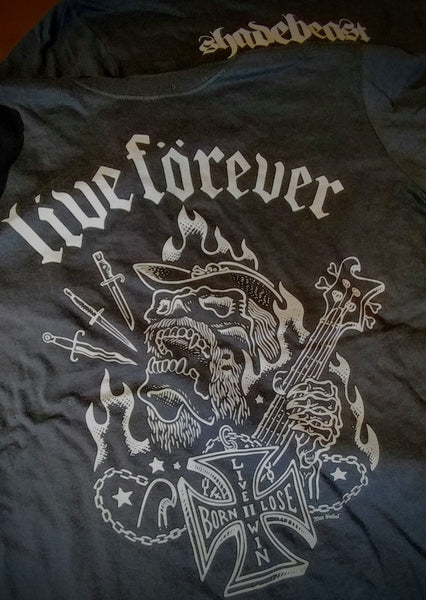 "Max Siebel ""Live Forever"" tee - ""dagger silver"" on black"