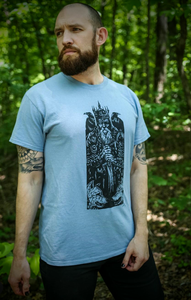 "Artists Series: Sam Balling ""Odin"" tee, black on stone blue"