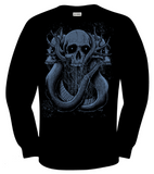 "Artists Series: David Paul Seymour ""Coils of Doom"" LONG SLEEVE tee, stone blue on black"