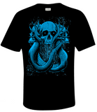 "Artists Series: David Paul Seymour ""Coils of Doom"" tee, electric blue on black"