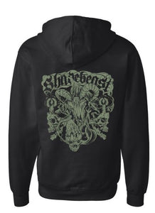 """Demon Crest"" Zip Front Hoodie, two print color options"