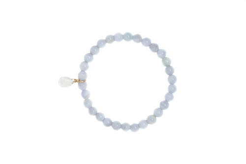 Blue Lace Agate Gemstone Bracelet with Quartz Charm. Slip on, one size.