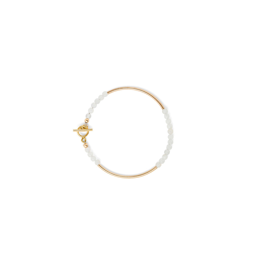 14k Gold Filled Tube & Gemstone Bead Bracelet (Moonstone)