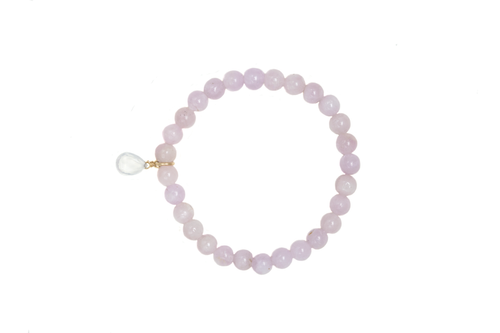 Kunzite Gemstone Bracelet with Quartz Charm. Slip on, one size.