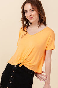 V-NECK SHORT SLEEVE CROP TOP
