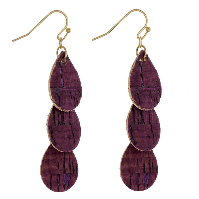 Burgundy Cork Teardrop Earrings