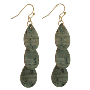 Olive Cork Teardrop Earrings
