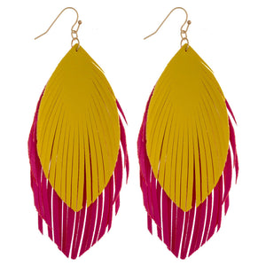 Pink and Yellow Feather Leather