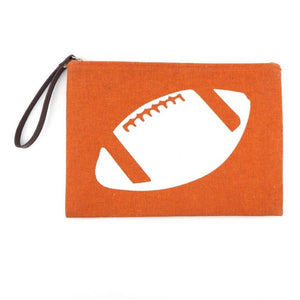 Burnt Orange Football Wristlet