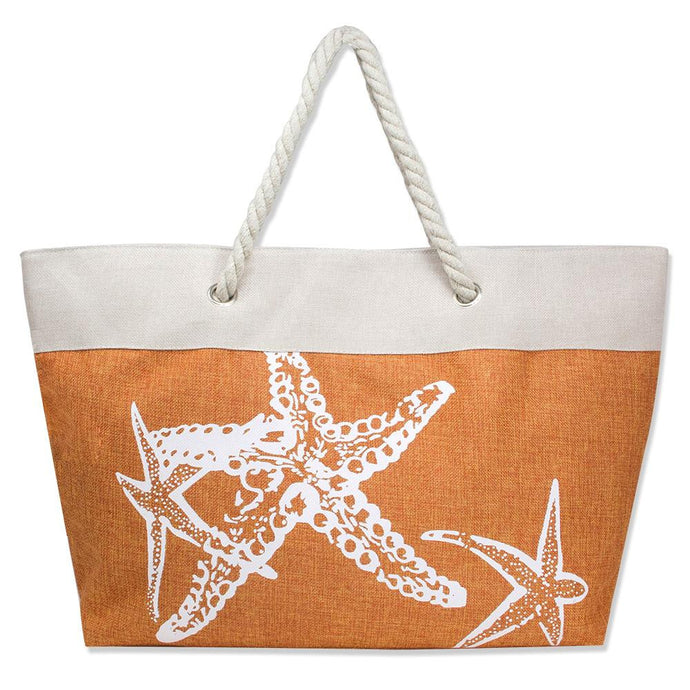 Orange Starfish Beach Bag