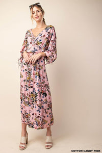 Shirred and Tie Sleeve Wrap Dress