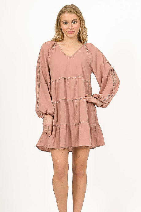 Long Sleeve Blush Dress