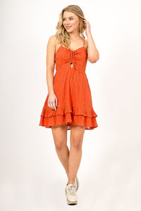 Orange Front Tie Dress