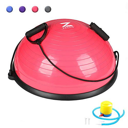 Half Exercise Ball with Resistance Bands & Foot Pump - Exercise Earth
