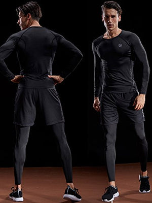 Men's 3-Pack Compression Long Sleeve Shirts - Exercise Earth