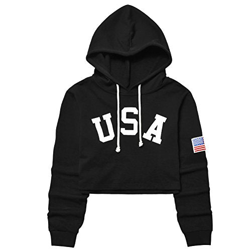 American Flag Cropped Hoodie - Exercise Earth