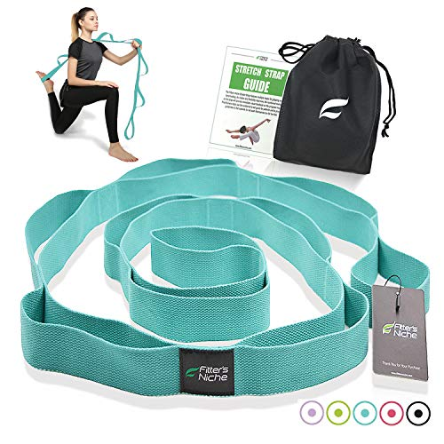 Yoga Stretch Strap, Non Elastic Exercise Band with 10 Loops - Exercise Earth