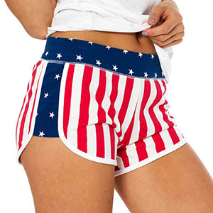 Women's American Flag Sporty Shorts - Exercise Earth