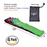 "Resistance Bands - Set of 4 Premium 12"" Workout Bands & a Carry Bag - Exercise Earth"