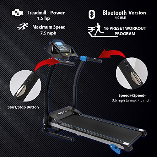 Smart Digital Folding Treadmill - 3 Manual Incline & 16 Preset Program - Exercise Earth