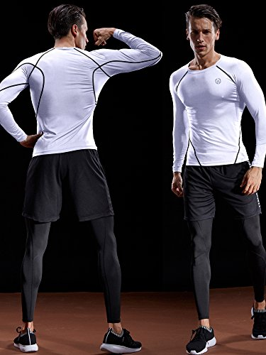 Men's 3 Pack Compression Long Sleeve Shirts - Exercise Earth