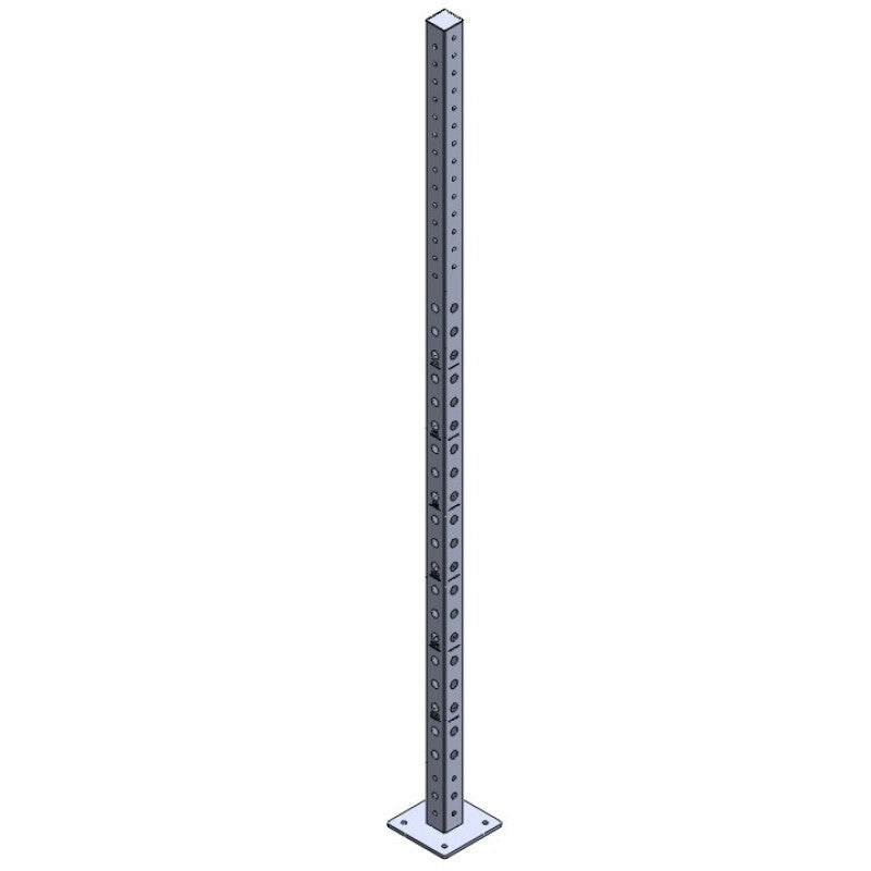 "Upright Steel Post 3 X 3 - 11 Gauge - With Machined 1"" Holes - Top Cover, Powder Coated - Exercise Earth"