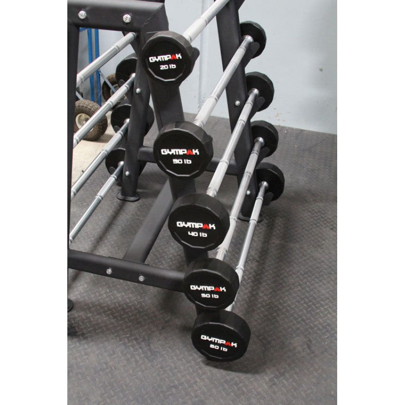 Commercial Urethane Straight Barbell Set With Rack - (20 Lb - 110 Lb) - Exercise Earth