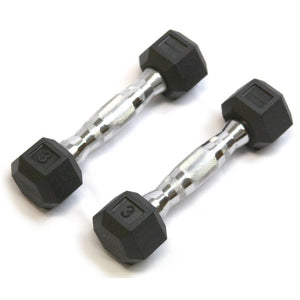 Rubber Hex Dumbbell - 3 Lb - Cushbell - Exercise Earth