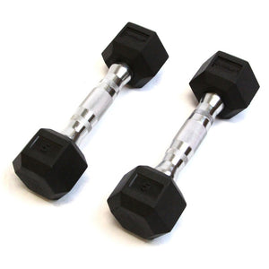 Rubber Hex Dumbbell - 5 Lb - Cushbell - Exercise Earth