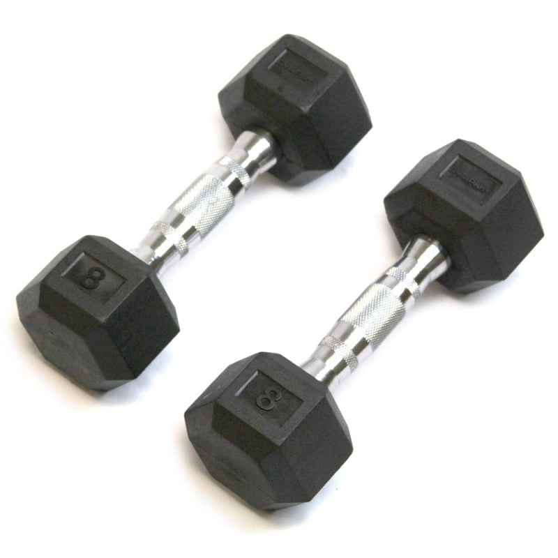 Rubber Hex Dumbbell - 8 Lb - Cushbell - Exercise Earth