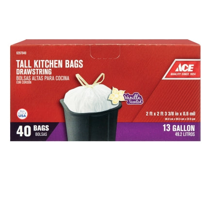 Ace 13 gal. Pop Up Yard Bag Tall Kitchen Bags Drawstring 40 pk