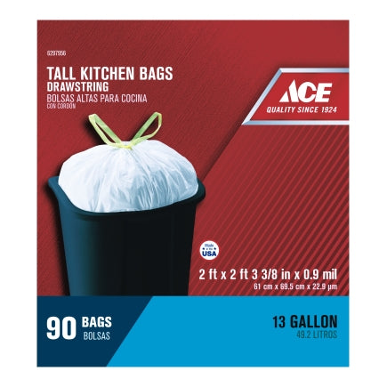 Ace 13 gal. Pop Up Yard Bag Tall Kitchen Bags Drawstring 90 pk