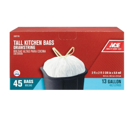 Ace 13 gal. Pop Up Yard Bag Tall Kitchen Bags Drawstring 45 pk