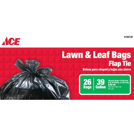 Ace 39 gal. Pop Up Yard Bag Tall Kitchen Bags Flap Tie 26 pk