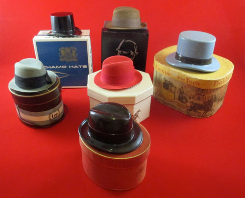 Vintage miniature lot of salesman's sample hats with original boxes
