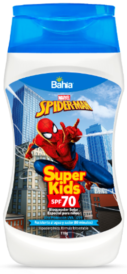 BLOQUEADOR SUPER KIDS SPF70 SPIDERMAN X 200 G FRASCO