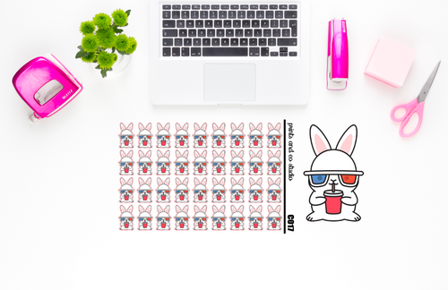 Carrots watches a movie planner stickers (C017)