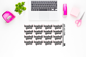 baseball game script planner stickers (S314)