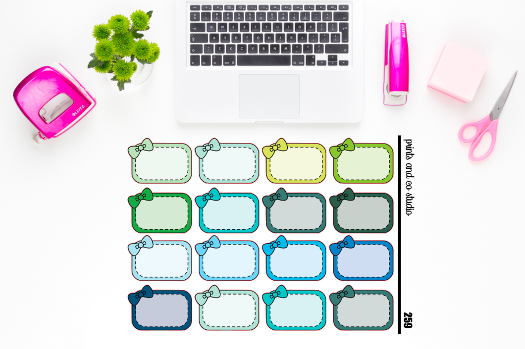 cool bow half boxes planner stickers (S259)