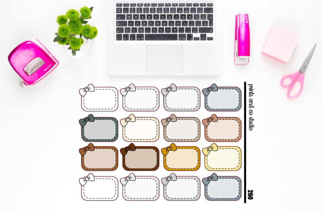 neutral bow half boxes planner stickers (S260)