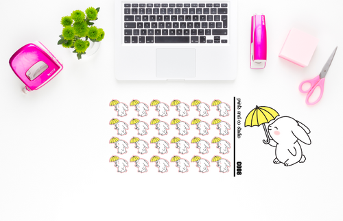 Carrots enjoys the rain planner stickers (C008)