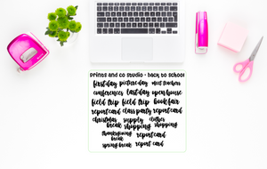 back to school scripts planner stickers