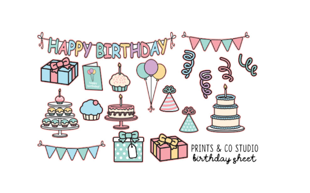 birthday deco planner stickers