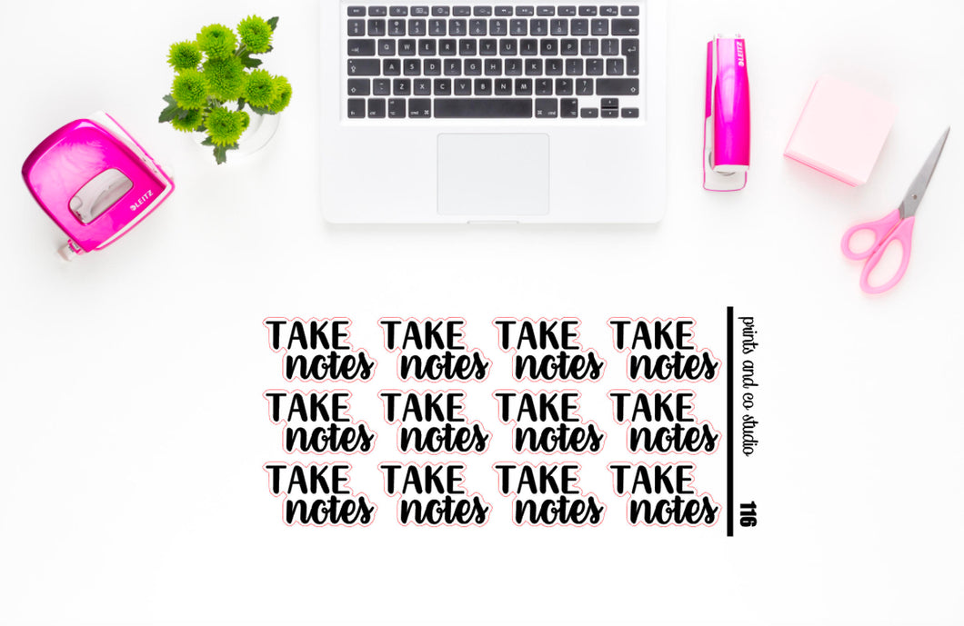 take notes script planner stickers (S116)