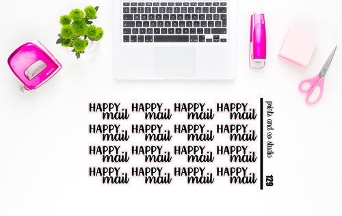 happy mail script planner stickers (S129)