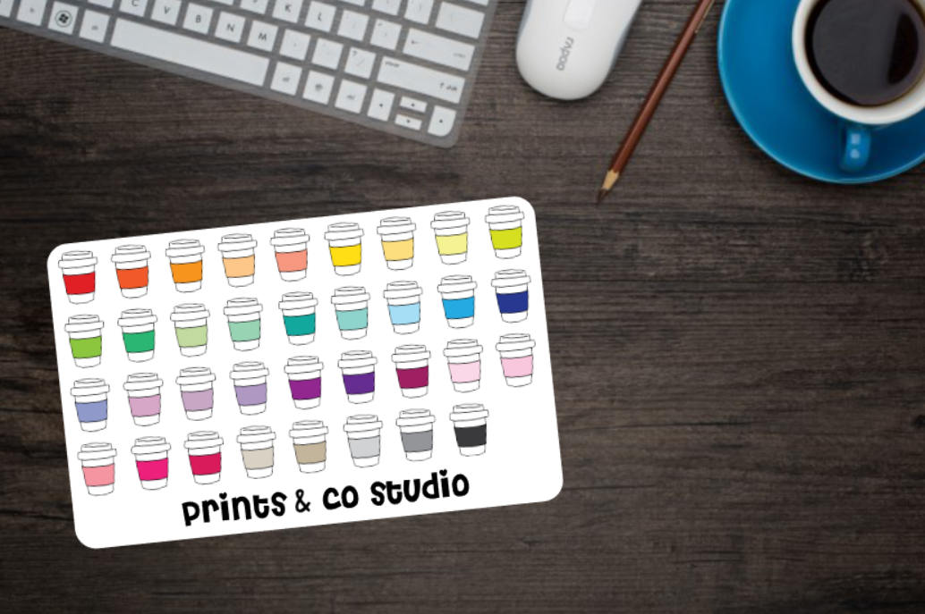 to go coffee cup planner stickers